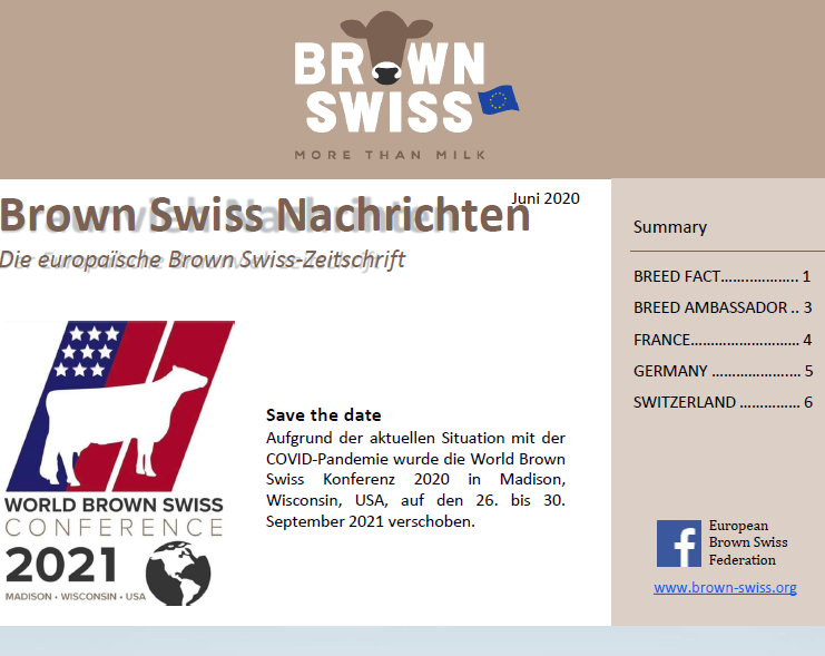 News from the European Brown Swiss breeders