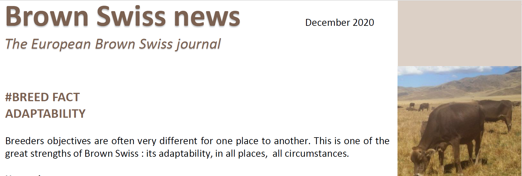 December 2020     Newsletter of the European Brown Swiss